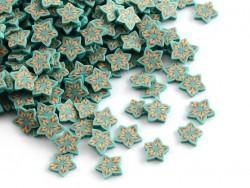 100 Polymer-Clay-Cane-Scheiben - orangefarbene und blaue Sterne