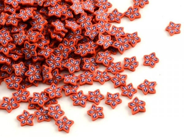 100 polymer clay canes - red and violet stars