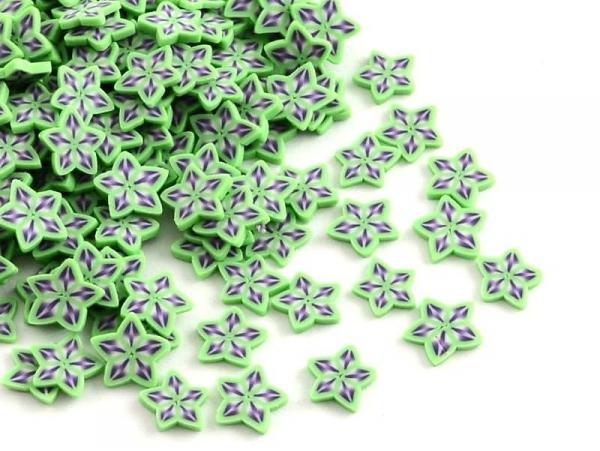 100 tranches en pâte polymère - étoiles vertes et violettes