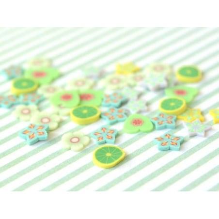 100 tranches en pâte polymère - étoiles vertes et grises  - 2