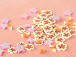 100 polymer clay cane slices - orange flowers