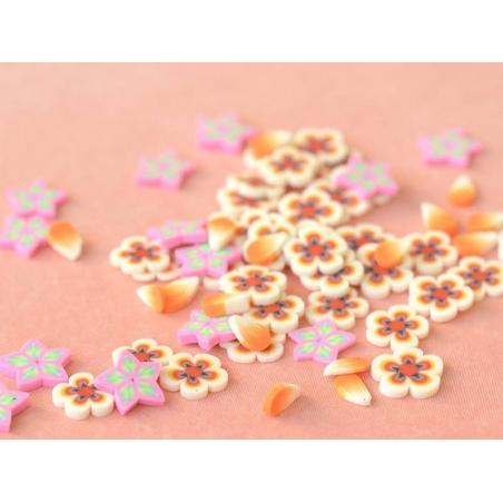100 polymer clay cane slices - orange flowers