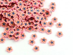 100 polymer clay cane slices - pink and blue flowers