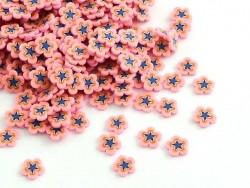 100 Polymer-Clay-Cane-Scheiben - rosafarbene und blaue Blumen
