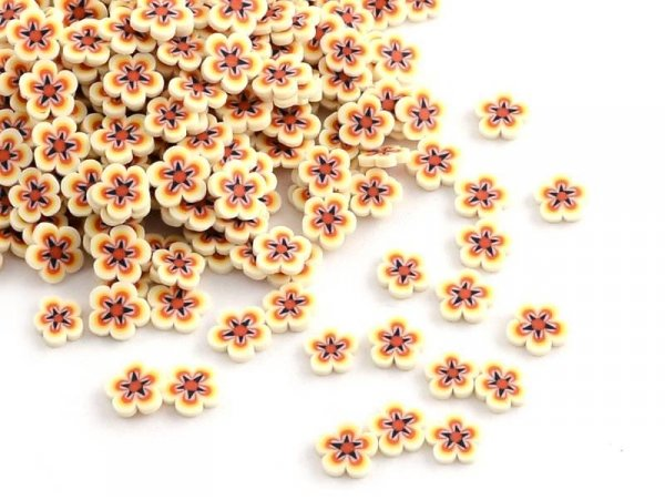 100 tranches en pâte polymère - fleurs jaunes