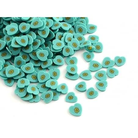 100 tranches en pâte polymère - coeurs bleus