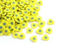 100 tranches en pâte polymère - coeurs jaunes  - 1