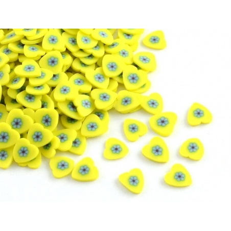 100 polymer clay cane slices - yellow hearts
