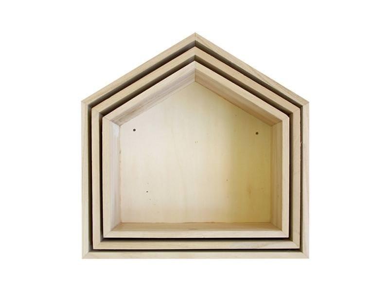 3 étagères Maison en bois à customiser Artemio - 1