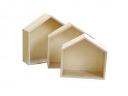 3 étagères Maison en bois à customiser
