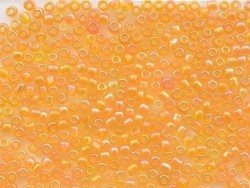 Tube de 350 perles transparentes irisées - orange clair
