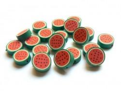 20 perles pastèques en pâte polymère
