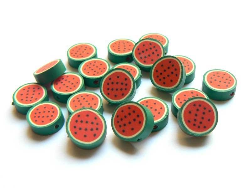 Acheter 20 perles pastèques en pâte polymère - 1,99€ en ligne sur La Petite Epicerie - Loisirs créatifs