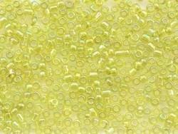 Tube de 350 perles transparentes irisées - vert pomme