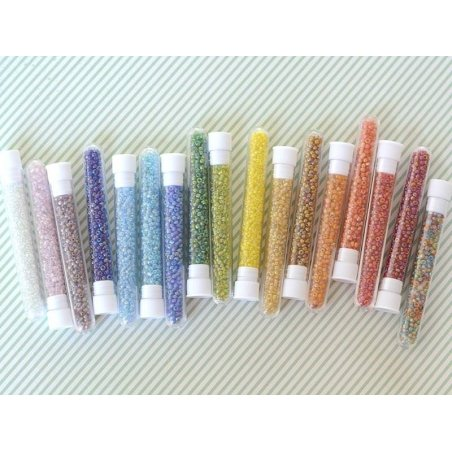 Tube of 350 transparent, iridescent beads - navy blue