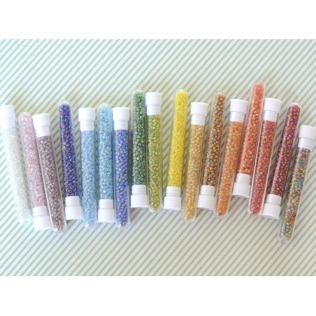 Tube de 350 perles transparentes irisées - blanc