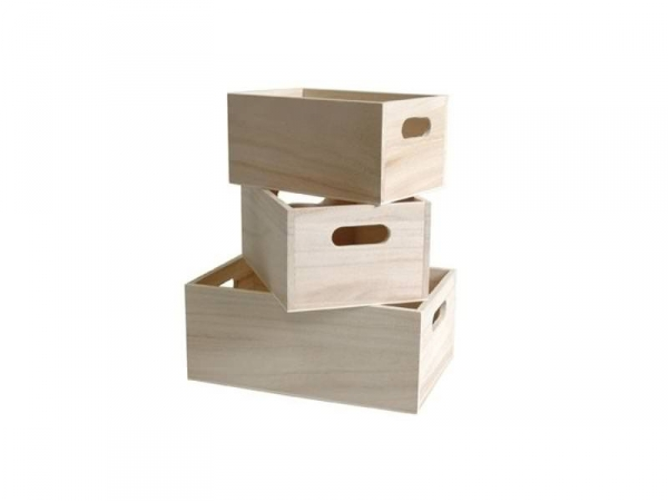 3 customisable wooden crates