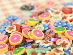 100 polymer clay cane slices - bananas