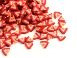100 polymer clay cane slices - strawberries
