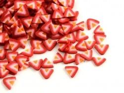 100 tranches en pâte polymère - fraises