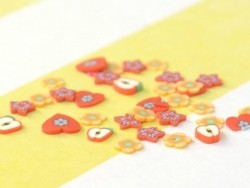 100 polymer clay cane slices - apples