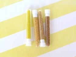 Röhrchen mit 350 durchsichtigen Perlen - Honiggelb