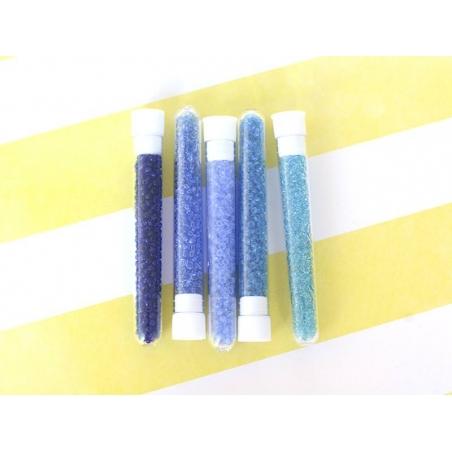 Tube de 350 perles transparentes - bleu ciel
