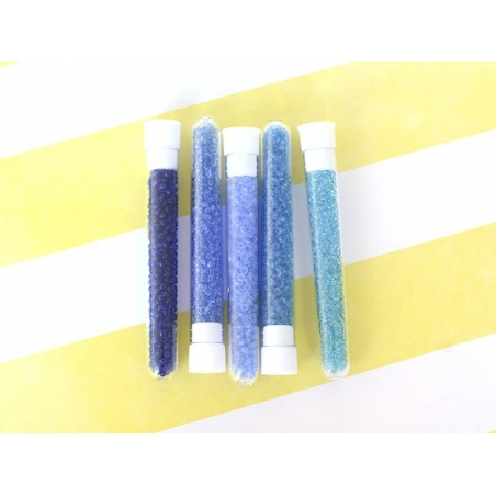 Tube of 350 transparent beads - azure