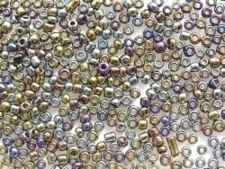 Röhrchen mit 350 metallisierten Perlen - Blauroter Metallmix