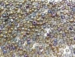 Tube de 350 perles métallisées - mix métal plusieurs couleurs