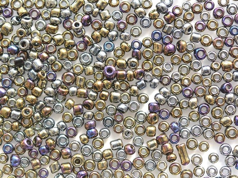 Tube of 350 metallic beads - purplish-blue metallic mix