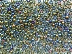 Röhrchen mit 350 metallisierten Perlen - olivgrün