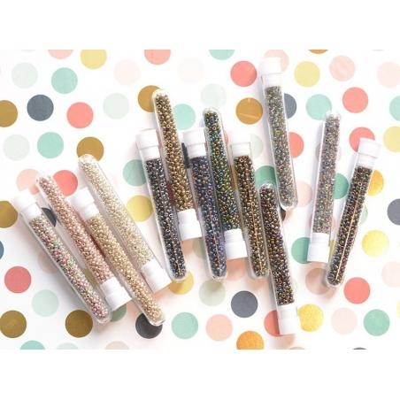 Tube of 350 metallic beads - silver-coloured