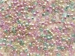 Tube de 350 perles métallisées - mix jaune, rose, vert