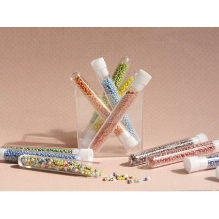 Tube de 350 perles de rocailles opaques nacrées - rose