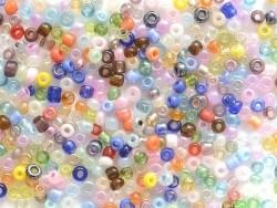 Tube de 350 perles de rocailles opaques et transparentes  - assortiment