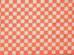 Neon orange fabric - Chequerboard pattern