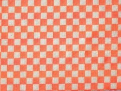 Tissu damier - orange fluo Rico Design - 1