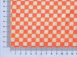 Tissu damier - orange fluo