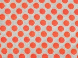 Fabric with polka dots - neon orange