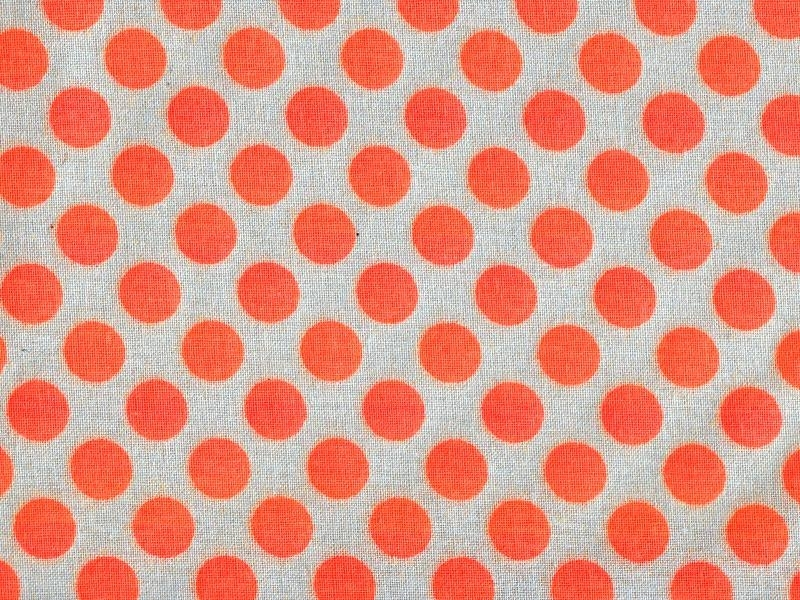Tissu pois - orange fluo