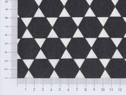 Stoff mit Sechskantmuster - schwarz
