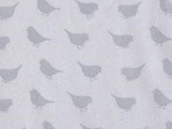 Fabric with a bird pattern - grey