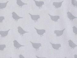 Stoff mit Vogelmuster - grau