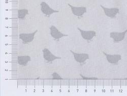 Fabric with a bird pattern - grey
