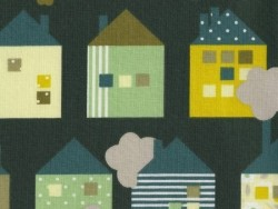 Printed fabric - green small houses