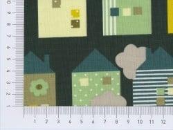Tissu imprimé - maisonnettes vertes