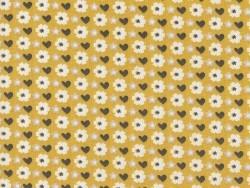 Bedruckter Stoff - gelb mit Blumenmuster