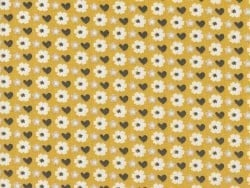 Printed fabric - Yellow/flowers