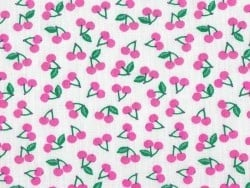 Printed fabric - pink cherries